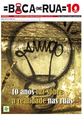 Capa da edição de 10 anos do Boca de Rua